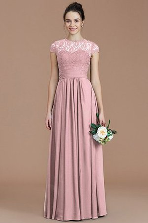 Chiffon Floor Length A-Line Jewel Short Sleeves Bridesmaid Dress - 27