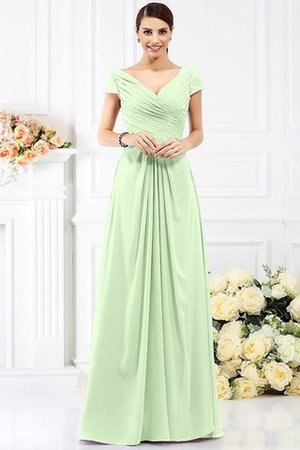Long Empire Waist Pleated A-Line Short Sleeves Bridesmaid Dress - 26