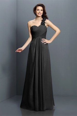 Zipper Up One Shoulder Chiffon A-Line Bridesmaid Dress - 2