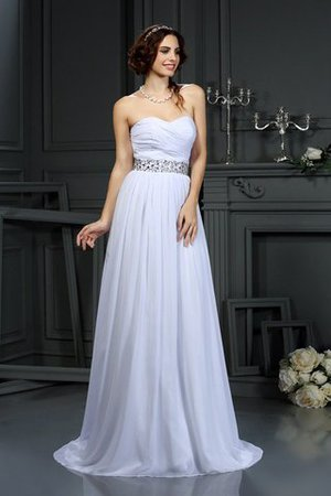 Court Train Beading A-Line Sleeveless Chiffon Wedding Dress - 1