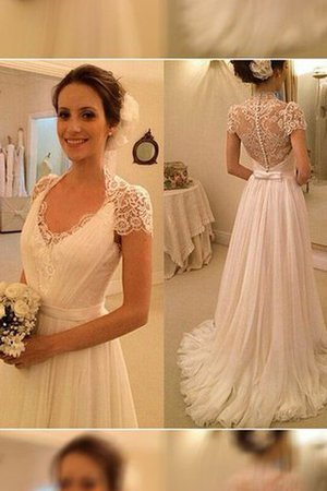 Sweep Train Chiffon Natural Waist A-Line Wedding Dress - 1