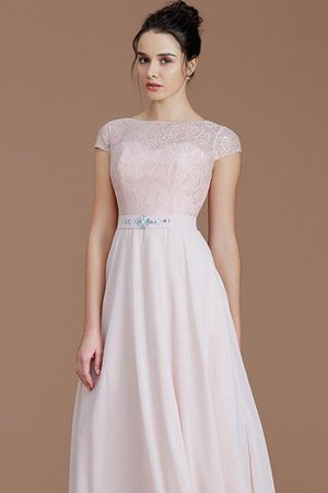 Floor Length Lace Chiffon Natural Waist Zipper Up Bridesmaid Dress - 6