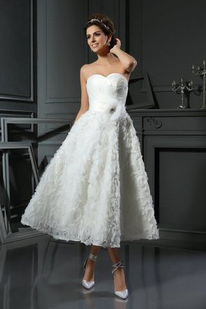 Empire Waist A-Line Accented Bow Tea Length Wedding Dress - 1