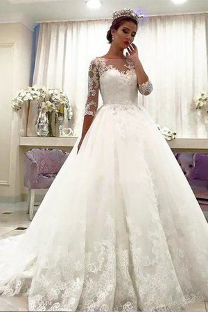 Ball Gown Court Train Bateau Lace Tulle Wedding Dress - 1