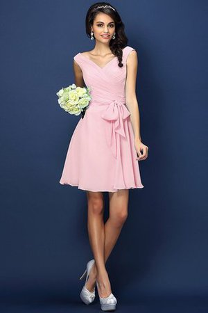 Zipper Up A-Line V-Neck Short Bridesmaid Dress - 21