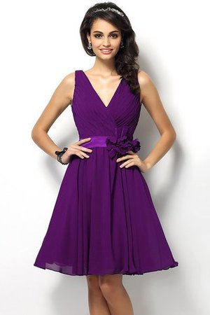 Draped A-Line V-Neck Natural Waist Bridesmaid Dress - 13