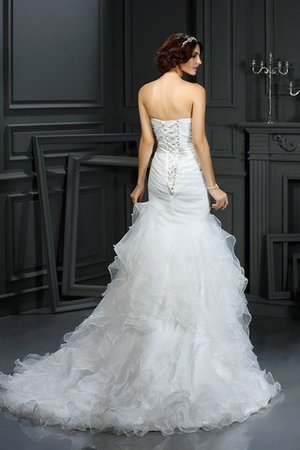 Court Train Sleeveless Organza Mermaid Lace-up Wedding Dress - 2