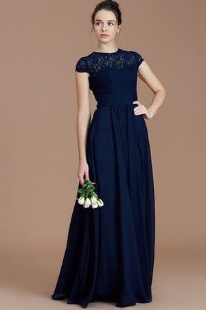 Chiffon Floor Length A-Line Jewel Short Sleeves Bridesmaid Dress - 5