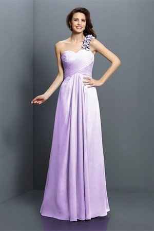 Zipper Up One Shoulder Chiffon A-Line Bridesmaid Dress - 19