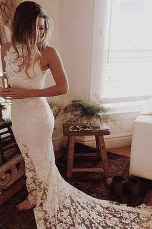 Halter Sleeveless Lace Natural Waist Chapel Train Wedding Dress - 1