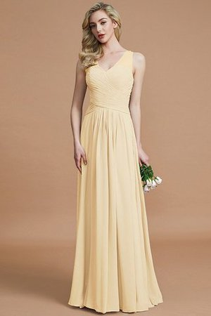 Natural Waist Floor Length A-Line V-Neck Bridesmaid Dress - 11