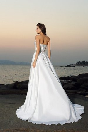 Princess Beach Sleeveless Beading Chapel Train Wedding Dress - 2