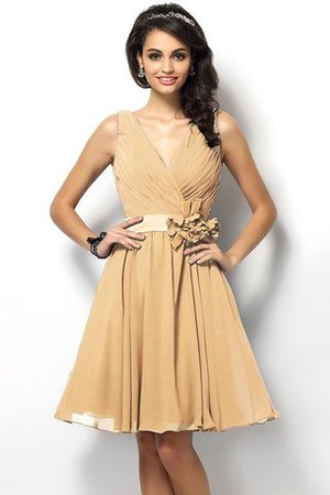 Draped A-Line V-Neck Natural Waist Bridesmaid Dress - 12