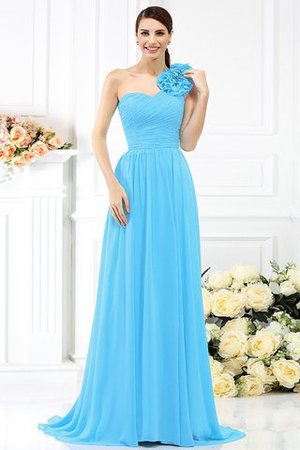Chiffon A-Line One Shoulder Long Flowers Bridesmaid Dress - 3