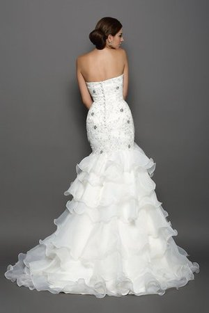 Beading Appliques Sleeveless Organza Long Wedding Dress - 2
