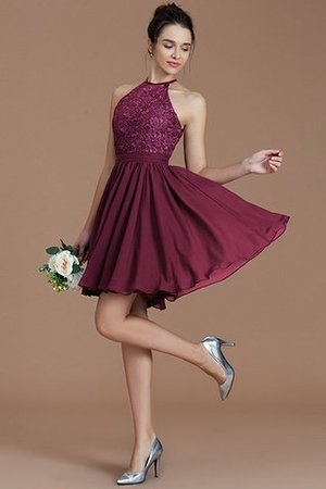 A-Line Short Halter Natural Waist Bridesmaid Dress - 11