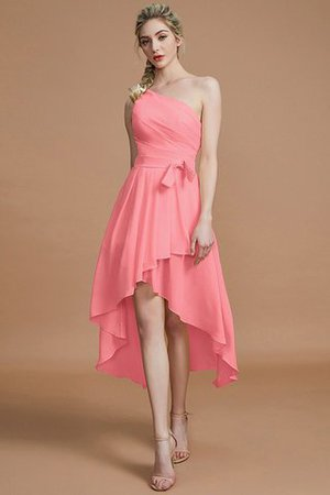 Asymmetrical Chiffon Natural Waist Bridesmaid Dress - 32