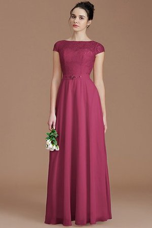 Floor Length Lace Chiffon Natural Waist Zipper Up Bridesmaid Dress - 10