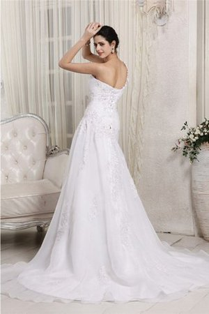 One Shoulder Chapel Train Princess Organza Empire Waist Wedding Dress - 2