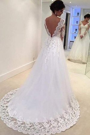 V-Neck Natural Waist Court Train Lace-up Ball Gown Wedding Dress - 2