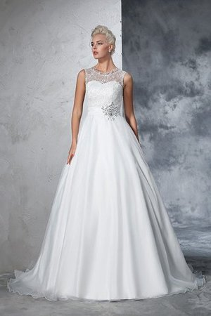 Empire Waist Ball Gown Long Sleeveless Lace Wedding Dress - 3