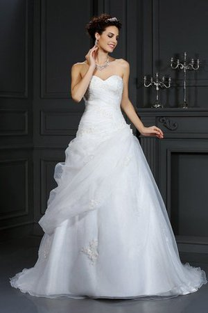 Sweetheart Court Train Organza Sleeveless Lace-up Wedding Dress - 1