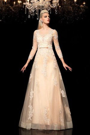Princess Long Sleeves Zipper Up Appliques Floor Length Wedding Dress - 4