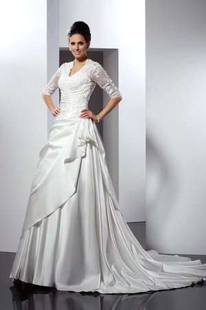Empire Waist A-Line Sleeveless Satin Appliques Wedding Dress - 1