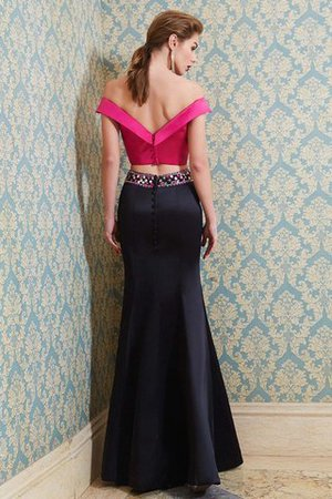 Floor Length Beading Sleeveless 2 Piece Satin Evening Dress - 2