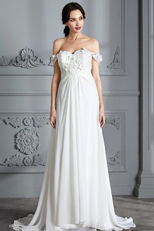 Sleeveless Chiffon Natural Waist Off The Shoulder Floor Length Wedding Dress - 2