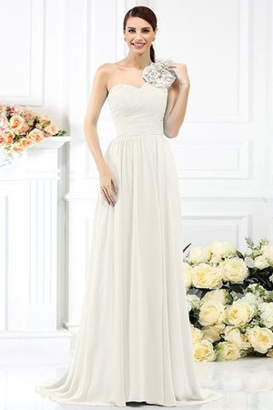 Chiffon A-Line One Shoulder Long Flowers Bridesmaid Dress - 16