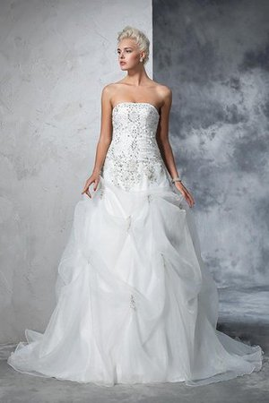 Lace-up Tulle Long Chapel Train Strapless Wedding Dress - 5