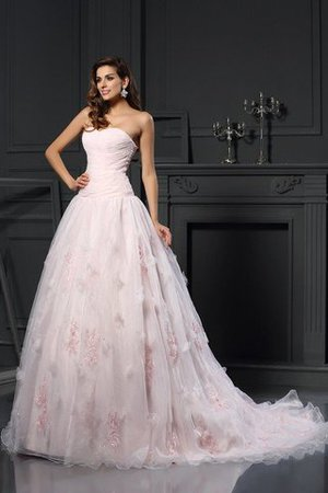 Sleeveless Long Satin Ball Gown Sweetheart Wedding Dress - 1