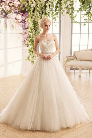 Criss-Cross Court Train Long Ball Gown Beading Wedding Dress - 1