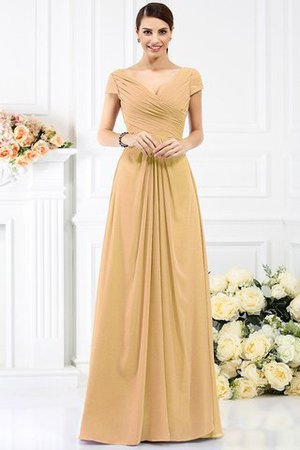 Long Empire Waist Pleated A-Line Short Sleeves Bridesmaid Dress - 12