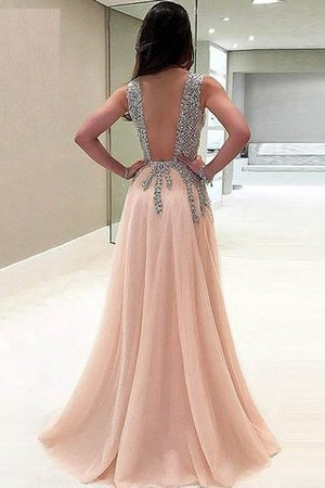 V-Neck Sleeveless Floor Length Tulle Beading Evening Dress - 2