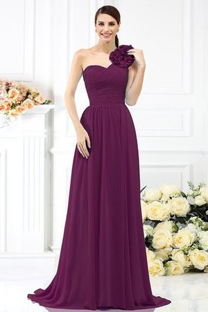 Chiffon A-Line One Shoulder Long Flowers Bridesmaid Dress - 5