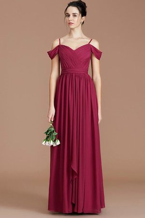 Chiffon Floor Length A-Line Ruched Bridesmaid Dress - 2