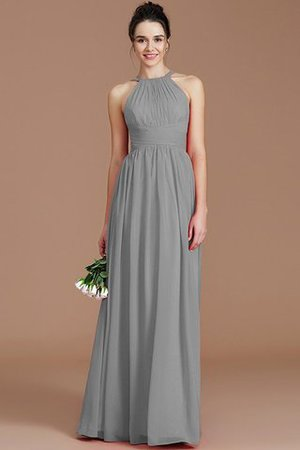 Ruched Floor Length Chiffon Natural Waist Halter Bridesmaid Dress - 28