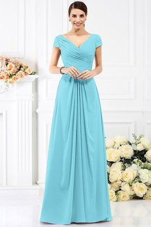 Long Empire Waist Pleated A-Line Short Sleeves Bridesmaid Dress - 3