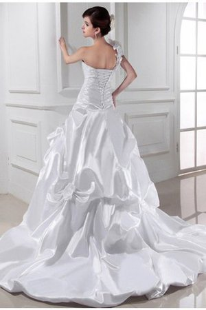 Empire Waist Long Lace-up One Shoulder Elastic Woven Satin Wedding Dress - 2
