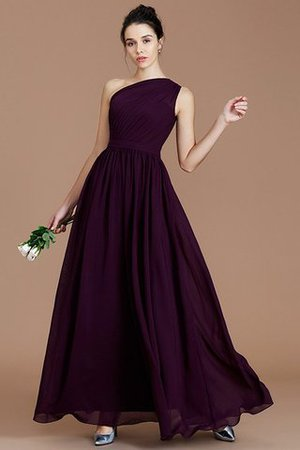 Floor Length Natural Waist Chiffon Ruched One Shoulder Bridesmaid Dress - 18