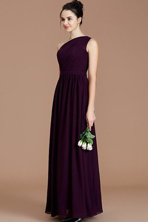 Floor Length Natural Waist Chiffon Ruched One Shoulder Bridesmaid Dress - 2