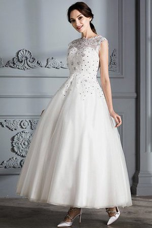 Scoop Sleeveless Ball Gown Tulle Natural Waist Wedding Dress - 6