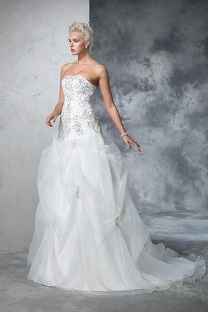 Lace-up Tulle Long Chapel Train Strapless Wedding Dress - 4