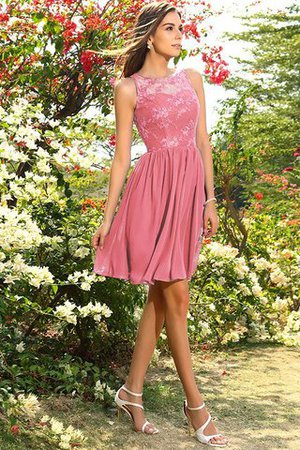 A-Line Natural Waist Sleeveless Chiffon Short Bridesmaid Dress - 28