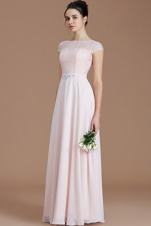 Floor Length Lace Chiffon Natural Waist Zipper Up Bridesmaid Dress - 3
