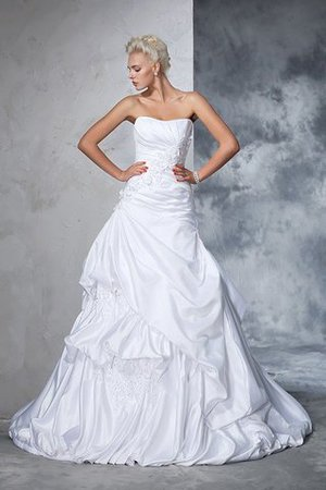 Natural Waist Appliques Long Chapel Train Strapless Wedding Dress - 3
