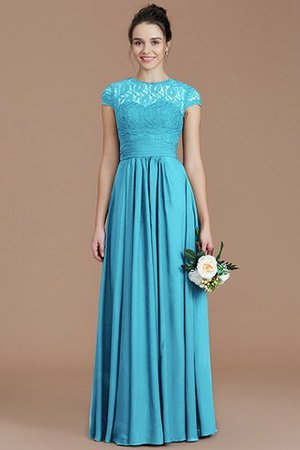Chiffon Floor Length A-Line Jewel Short Sleeves Bridesmaid Dress - 10