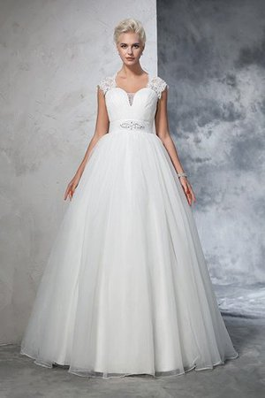 Ruched Long Empire Waist Sweep Train Ball Gown Wedding Dress - 3
